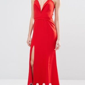Red Deep Sweetheart Plunge Front Maxi Dress